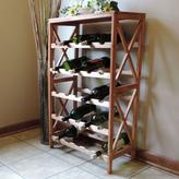 Lavish Home 21.1 in. W 25-Bottle Classic Rustic Wood Wine Rack