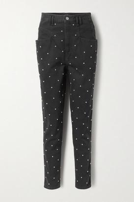 Isabel Marant Stud-embellished High-rise Tapered Jeans - Black