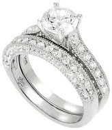 Tressa Collection Round Cut Cubic Zirconia Wedding Ring Set in Sterling Silver