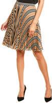 Burberry Logo & Stripe Crepe Pleated A-Line Skirt