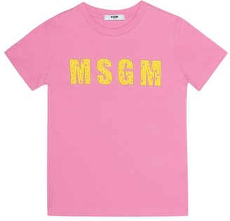 Msgm Kids Embroidered cotton T-shirt