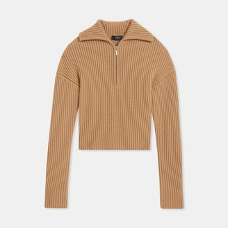 Theory Half Zip Sweater in Ribbed Merino Wool