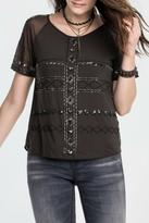 Miss Me Charcoal Beaded Top