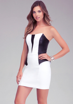 Bebe Strapless Leatherette Mesh Dress