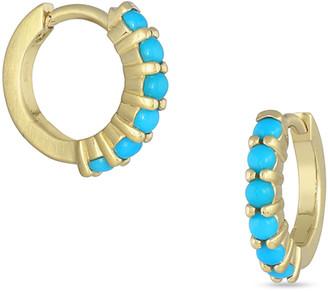 Dominique Cohen 18k Gold Sleeping Beauty Turquoise Hinged Huggie Hoop Earrings