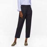 Paul Smith A Suit To Travel In - Women's Tailored-Fit Navy Wool Double-Pleat Trousers
