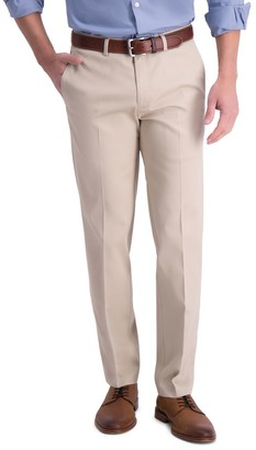 Haggar Men's Iron Free Premium Khaki Straight-Fit Flat Front Perfect Fit Waistband Casual Pant
