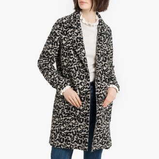 Esprit Long Soft Wool Mix Single-Breasted Coat in Leopard Print with Pockets