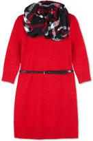Amy Byer Belted Sweater Dress & Scarf, Big Girls (7-16)