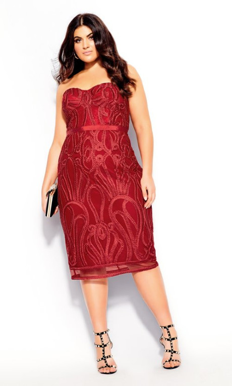 City Chic Antonia Dress - red
