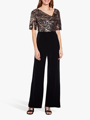 Adrianna Papell Sequin Jumpsuit, Black/Rose Gold