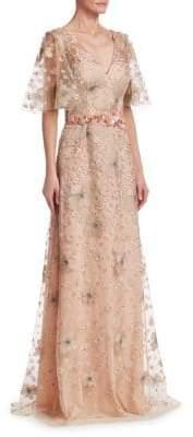 David Meister Short Sleeve Floral Embellished Gown