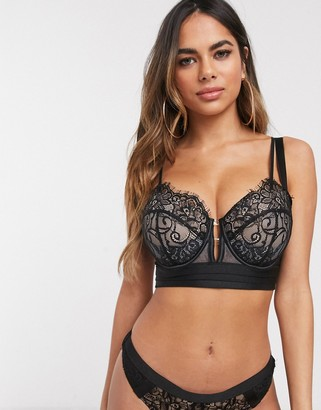 Asos DESIGN Fuller Bust Layla longline padded plunge underwire bra with layered lace & mesh