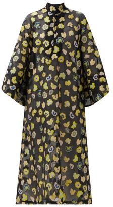 La Vie Style House - Floral-embroidered Poplin Kaftan - Black Yellow