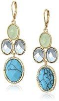 "Anne Klein Jeweled Treasures"" Gold-Tone/Multi Chandelier Drop Earrings"