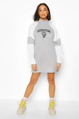boohoo High Neck Colour Block Printed Sweatshirt Dress