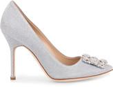 Manolo Blahnik Hangisi 105 notturno silver glitter pumps