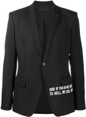Haider Ackermann Slogan-Print Single-Breasted Blazer