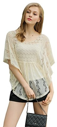 UP Ultrapink Women's Missy Flutter Sleeve Allover Lace Blouse with Crochet Insert