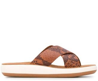 Ancient Greek Sandals Snakeskin Print Slides