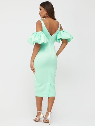 Very Satin Puff Sleeve Midi Dress