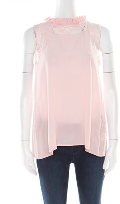 Ermanno Scervino Pink Sorbet Silk Floral Lace Trim Sleeveless Top M