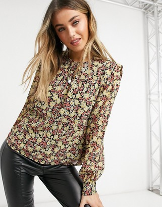 Pieces blouse with shoulder detail in mixed ditsy floral