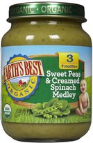 Earth's Best 3rd Foods Vegetables - Sweet Peas & Cream Spinach - 6 oz - 12 pk