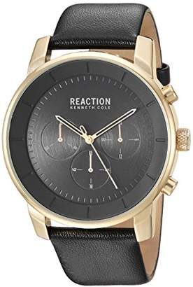 Kenneth Cole Reaction Men's Stainless Steel Analog-Quartz Watch with Leather-Synthetic Strap