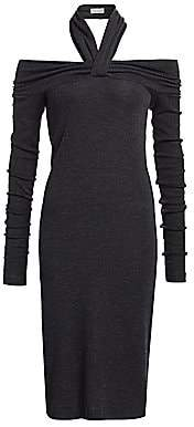 Brunello Cucinelli Women's Jersey Halter Off-The-Shoulder Wool-Blend Dress