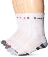 Reebok Men's 5 Pack Performance Crew Striped Foot Bed Sock Blue
