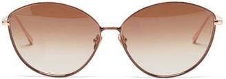 Linda Farrow Francis Cat-eye 22kt Gold-plated Metal Sunglasses - Brown