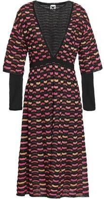 M Missoni Layered Metallic Crochet-knit Midi Dress