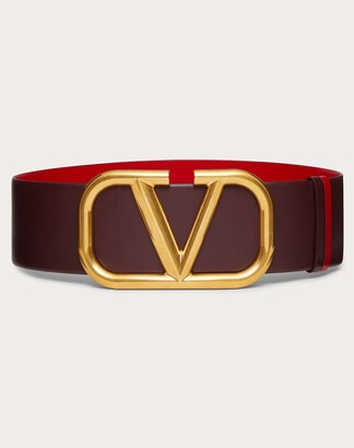 Valentino Reversible Vlogo Signature Belt In Glossy Calfskin 70 Mm Women Rubin/pure Red 100% Pelle Di Vitello - Bos Taurus 100