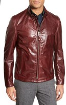 Schott NYC Men's 'Casual Cafe Racer' Slim Fit Leather Jacket