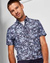 Ted Baker Leaf print linen and cotton-blend shirt