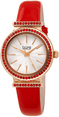 Burgi Women's Genuine Patent Leather Watch