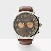 Paul Smith Men's Gunmetal And Brown 'Precision' Chronograph Watch
