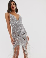 Asos Edition EDITION sequin cutwork cami midi dress with fringe