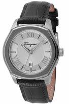 Salvatore Ferragamo 40mm Lungarno Men's Watch w/ Leather Strap, Silver/Black