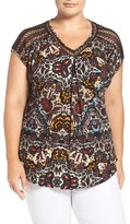 Lucky Brand Plus Size Women's Lace Trim Floral Print V-Neck Top