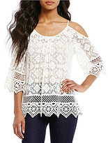 Karen Kane Cold-Shoulder Lace Top