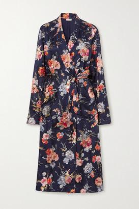 Dries Van Noten Belted Embellished Floral-print Satin Robe - Navy