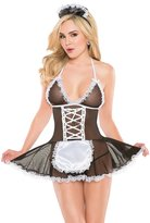 Coquette Women's Kissable French Maid Babydoll with Lacefront and Matching Headpiece, Black/White