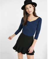 Express fitted crossover front v neck sweater