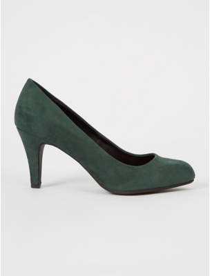 George Green Suede Effect Patent Round Toe Court Shoe