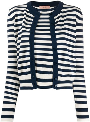 Twin-Set Layered Style Striped Cardigan