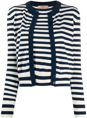 Twin-Set Twin Set layered style striped cardigan