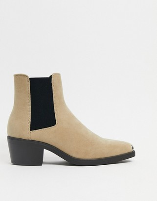 ASOS DESIGN cuban heel western chelsea boots in stone faux suede with metal hardware