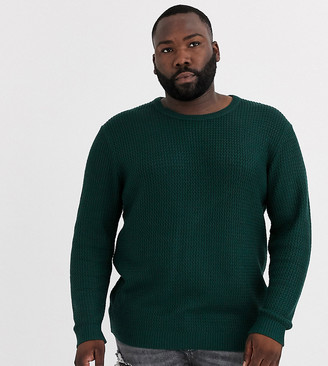 Jack and Jones Originals textured crew neck knitted sweater in green